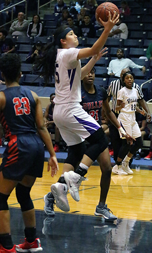 Jersey Village High School senior Kayleigh Truong helped lead the Falcons to a win over Fort Bend Dulles in the area round. They advanced to face Houston Westside at 6 p.m. on Feb. 19 at the Merrell Center in Katy. (Photo by Gianncarlo Hernandez, Jersey Village HS)