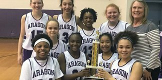 "The Aragon Middle School eighth-grade girls' basketball A team poses after winning the CFISD Middle School ""A"" Basketball Tournament Gold Bracket, held Feb. 16 at Aragon Middle School. (CFISD courtesy photo)"