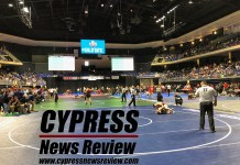 An image of the UIL's Texas wrestling state championships at the Berry Center in Cypress Texas, Feb. 22, 2019. (Cypress News Review photo by Creighton Holub)