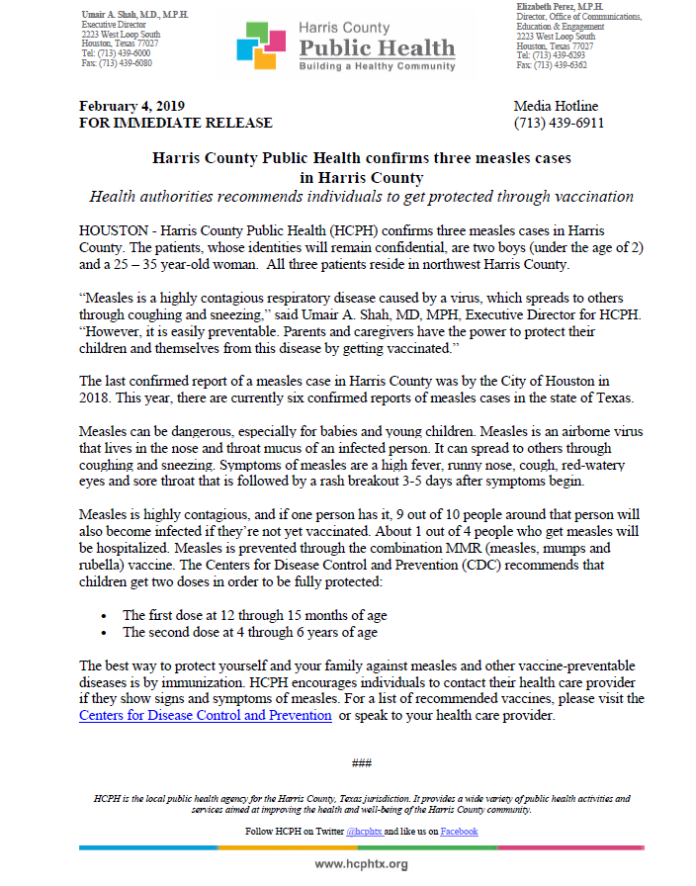 Harris County Public Health department confirmed three cases of measles this morning in North West Harris County. The individuals were two boys under the age of two and a woman age 25-35. (HCPH image)