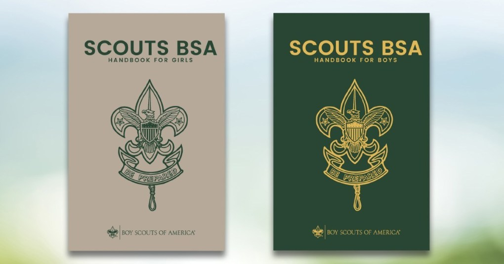 The new Scouts BSA handbook for girls and handbook for boys. (Boy Scouts of America)