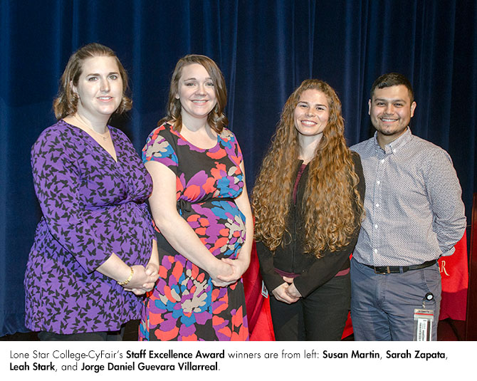 Lone Star College - CyFair's Staff Excellence Award winners are from left to right: Susan Martin, Sarah Zapata, Leah Stark and Jorge Daniel Guevara Villarreal. (Courtesy photo)