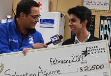 KPRC 2 morning anchor Owen Conflenti surprises Cypress Woods High School senior Sebastian Aguirre on Feb. 25 during his forensics class with the announcement that he won a $2,500 KPRC Senior Scholarship, sponsored by Texas Mattress Makers. (CFISD courtesy photo)