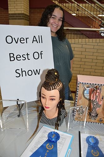 Cypress Ranch High School senior Tatiana Adams won Overall Best of Show for her braiding entry in the second annual CFISD Cosmetology Competition Feb. 9 at Cypress Woods High School. (CFISD courtesy photo)