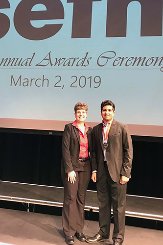 Cypress Woods High School junior Govind Chada (right) advanced to the Texas Science and Engineering Fair after placing second at the 60th annual Science and Engineering Fair of Houston. His project showcased research on novel methods for early detection of lung cancer using machine learning. (CFISD courtesy photo)