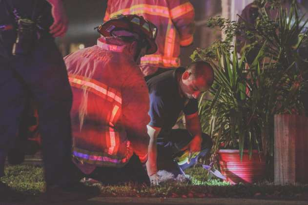 Cy-Fair VFD crews perform CPR on a dog rescued from a house fire in the 10900 block of Golden Grain Drive in the Harvest Bend Subdivision in Houston early Tuesday Morning, April 16, 2019. (CFVFD photo by Lt. Daniel Arizpe, PIO)