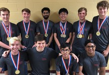 Cypress Woods High School students pose after they competed at the University Interscholastic League 2019 Conference 6A Academic State Meet, held May 3-4 at the University of Texas at Austin. Kneeling in the front row are (from left) Fernando Mercado, Zeke Gurbuz, Anand Iyer and Rahul Shanmugham. Standing in the back row are (front left) Zach Foster, Henry Thurman, Aayush Gupta, Steven Cheng, Tristan Wiesepape and Sammy Armstrong. Foster, Wiesepape and Armstrong each won an individual state championship, while Foster, Gupta, Thurman and Mercado teamed together to win the team championship in accounting. (CFISD courtesy photo)