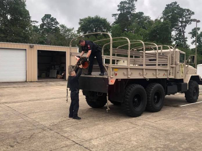 Precinct 4 Constable's Office deputies stage their high water rescue gear before expected heavy rains May 9, 2019. (Pct. 4 courtesy photo)