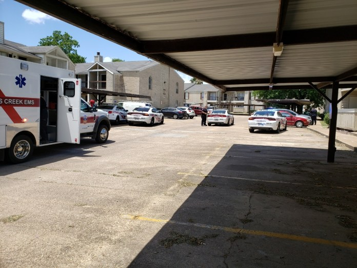 Heavy police presence in the 14500 block of Ella Boulevard, The Pecan Square Apartment Complex. Constables are on scene investigating a stabbing. (Pct. 4 Constable courtesy photo)