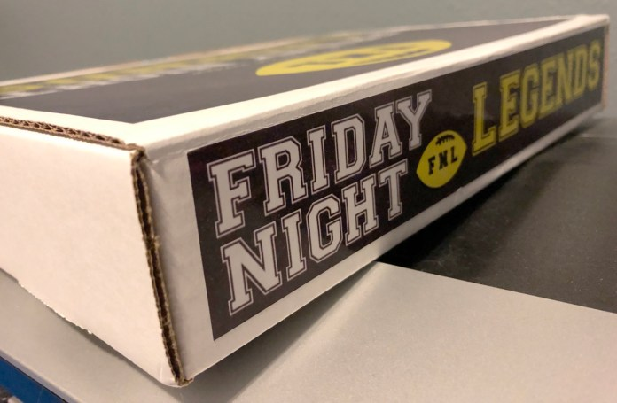 The exterior of the Friday Night Legends board game. Use the coupon code