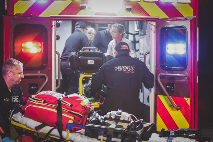 CFVFD, Memorial Hermann Life Flight crew members and the HCSO respond to male with a gunshot wound to the head on Fry Road. (CFVFD PIO photo by Lt. Daniel Arizpe)