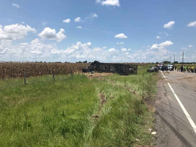 The fatal scene at 26300 Farm to Market 2920, north of Hockley, Aug. 5, 2019. (HCSO courtesy photo)