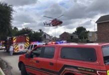 A Memorial Hermann Life Flight helicopter transports Harris County Sheriff Deputy Sandeep Dhaliwal to a hospital after he received wounds during a traffic stop that would lead to his death today, Sept. 27, 2019. (CFFD PIO photo by Lt. Daniel Arizpe)