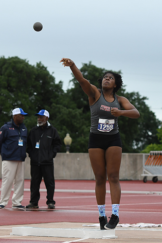Cypress Lakes High School junior KeAyla Dove throws the shot put during the University Interscholastic League State Track and Field Meet on May 11 at Mike A. Myers Stadium in Austin. (CFISD courtesy photo)