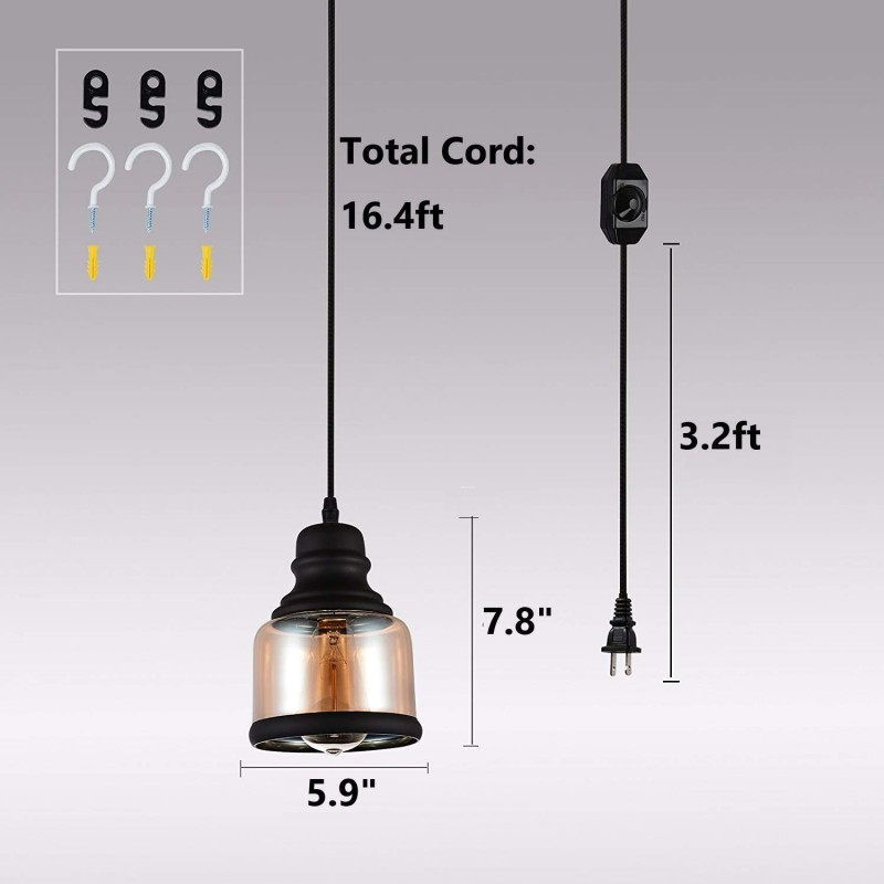 plug in pendant lighting fixtures with dimmer switch and long hanging cord vintage glass swag chandelier ceiling lamp for kitchen island dining table