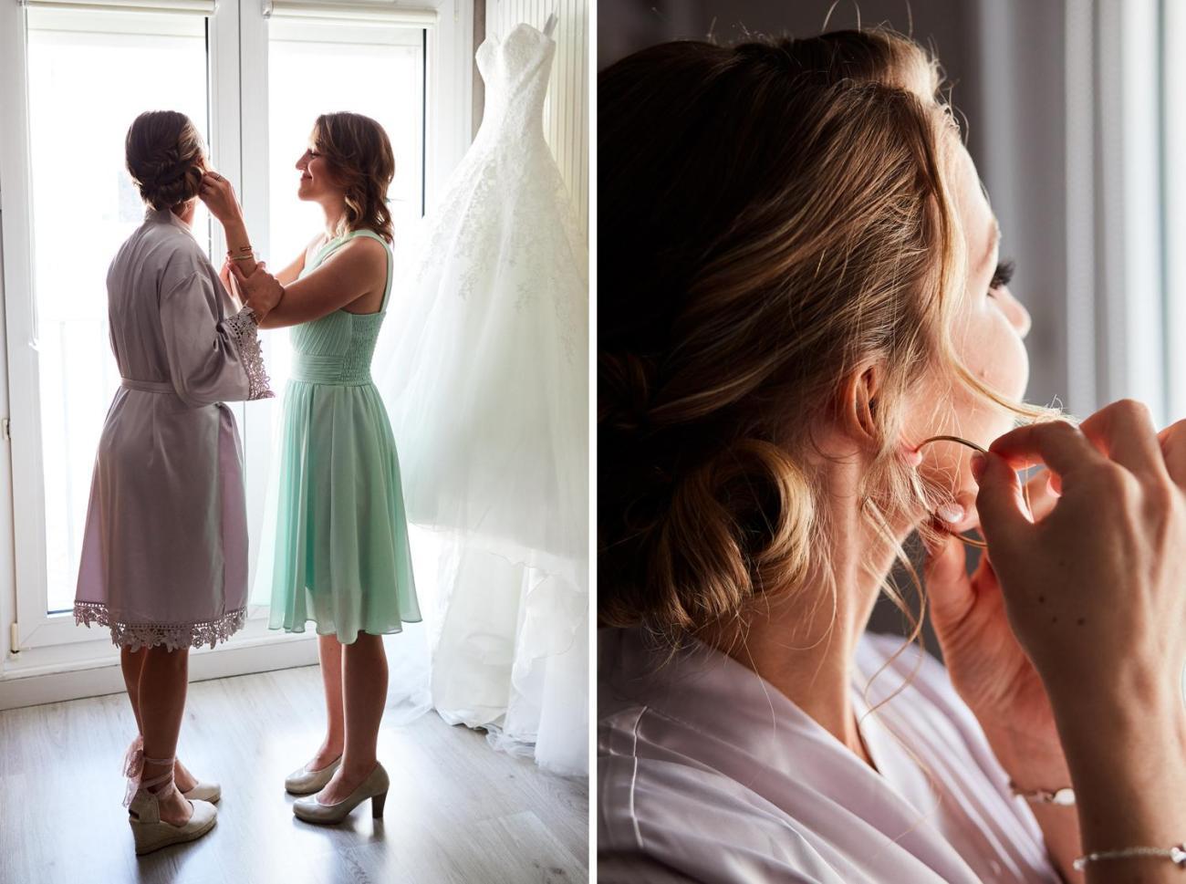 La mariée met ses boucles d'oreille