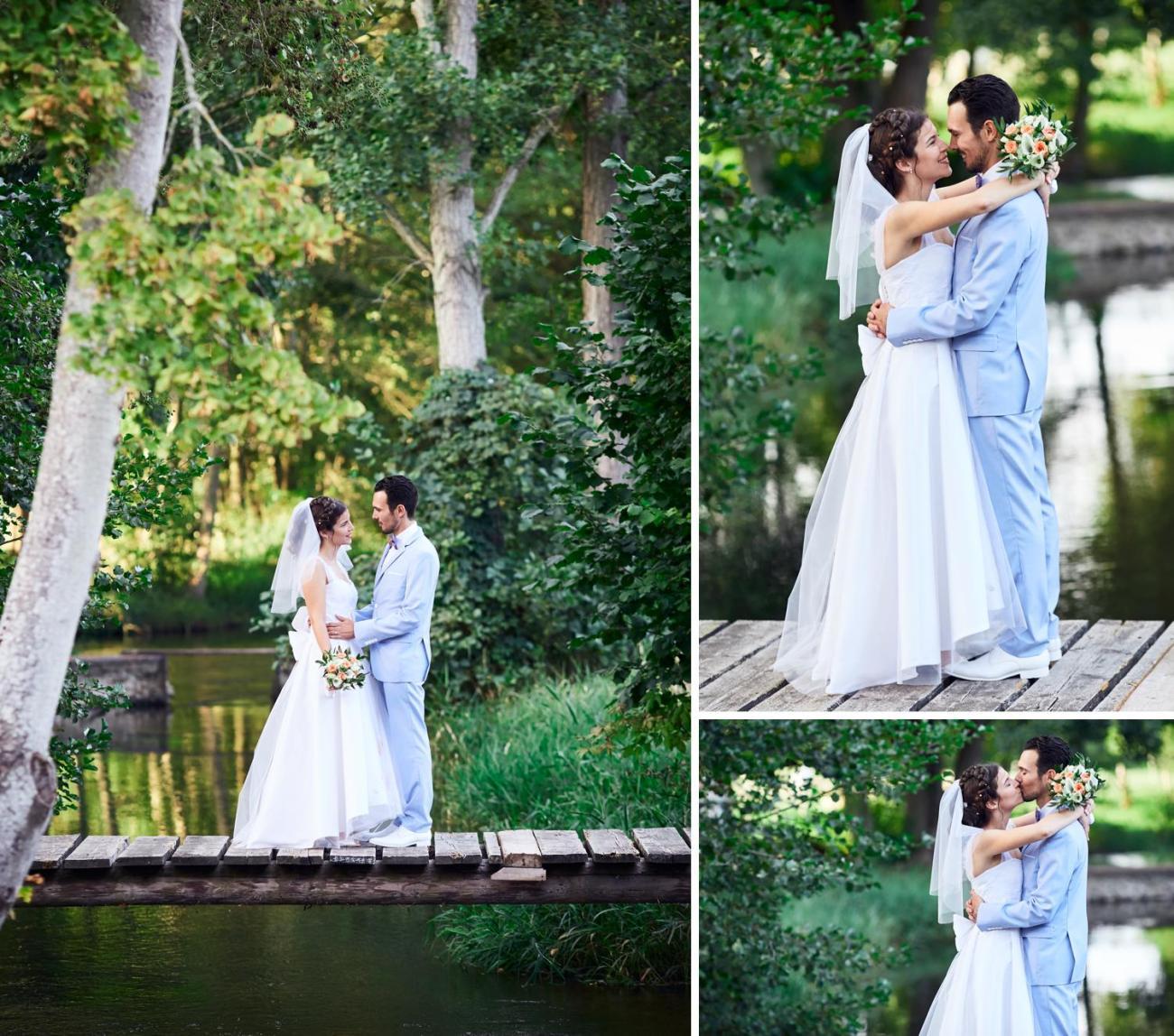 Photos des mariés lors du mariage champêtre au Domaine du Moulin des Planches
