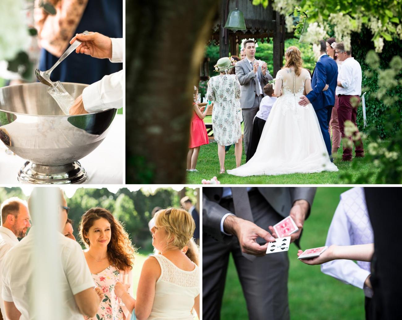 Cocktail de mariage au Jardin Le Point du Jour à Verdelot
