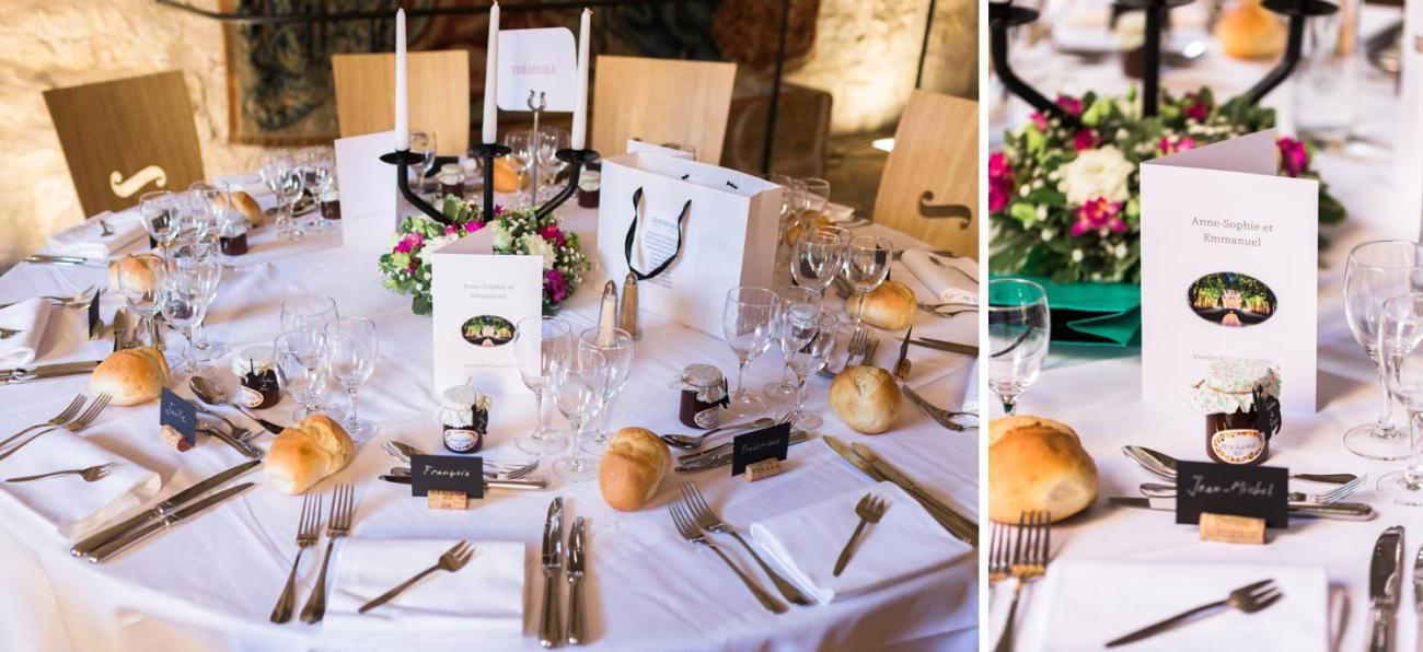 Décoration de table lors d'un mariage à l'Abbaye de Royaumont à Asnières-sur-Oise