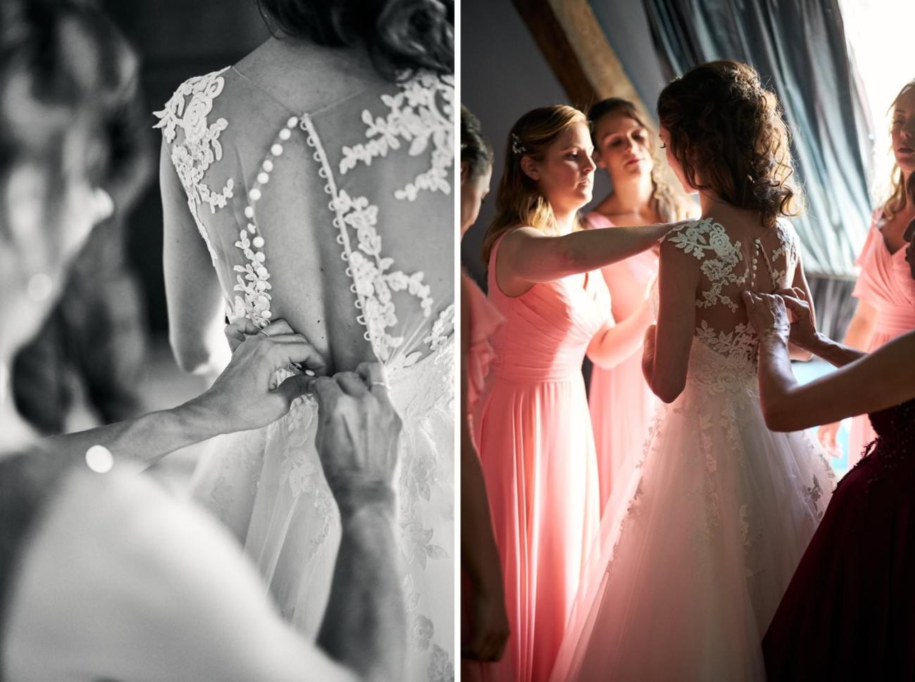 Enfilage robe de mariée