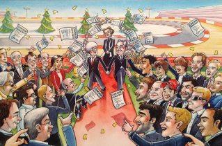 Kartka świąteczna z 2013 roku - porozumienie Berniego z Jeanem Todtem oraz podpisanie umów komercyjnych