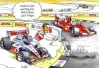 Kartka świąteczna z 2011 roku - seria kolizji Hamiltona z Massą