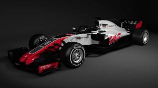 Bolid Haas F1 Team VF-18 skos