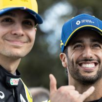 (L to R): Esteban Ocon (FRA) Renault F1 Team with Daniel Ricciardo (AUS) Renault F1 Team - livery reveal. Australian Grand Prix, Wednesday 11th March 2020. Albert Park, Melbourne, Australia.