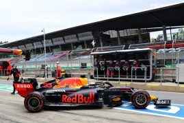 SPIELBERG, AUSTRIA - JULY 03: Max Verstappen of the Netherlands driving the (33) Aston Martin Red Bull Racing RB16 leaves the garage during practice for the F1 Grand Prix of Austria at Red Bull Ring on July 03, 2020 in Spielberg, Austria. (Photo by Getty Images/