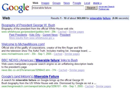 Google Bombing George Bush Miserable Failure
