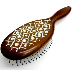 oval paddle brush decorated with Swarovski crystals