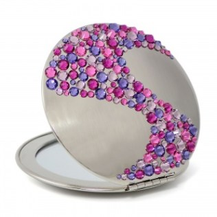 Compact mirror with Swarovski crystals
