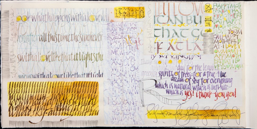 Book page from handmade book. Various daily practice sheets of different alphabets and variations along with some calligraphic doodles and patterns. Mostly watercolor.