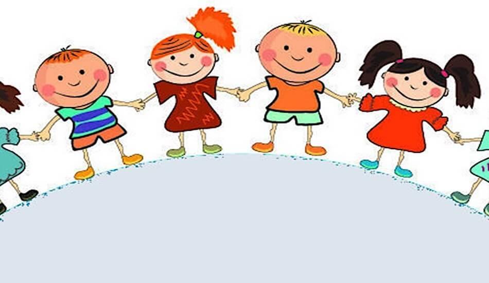 Crtež nasmijane djece koja se drže za ruke