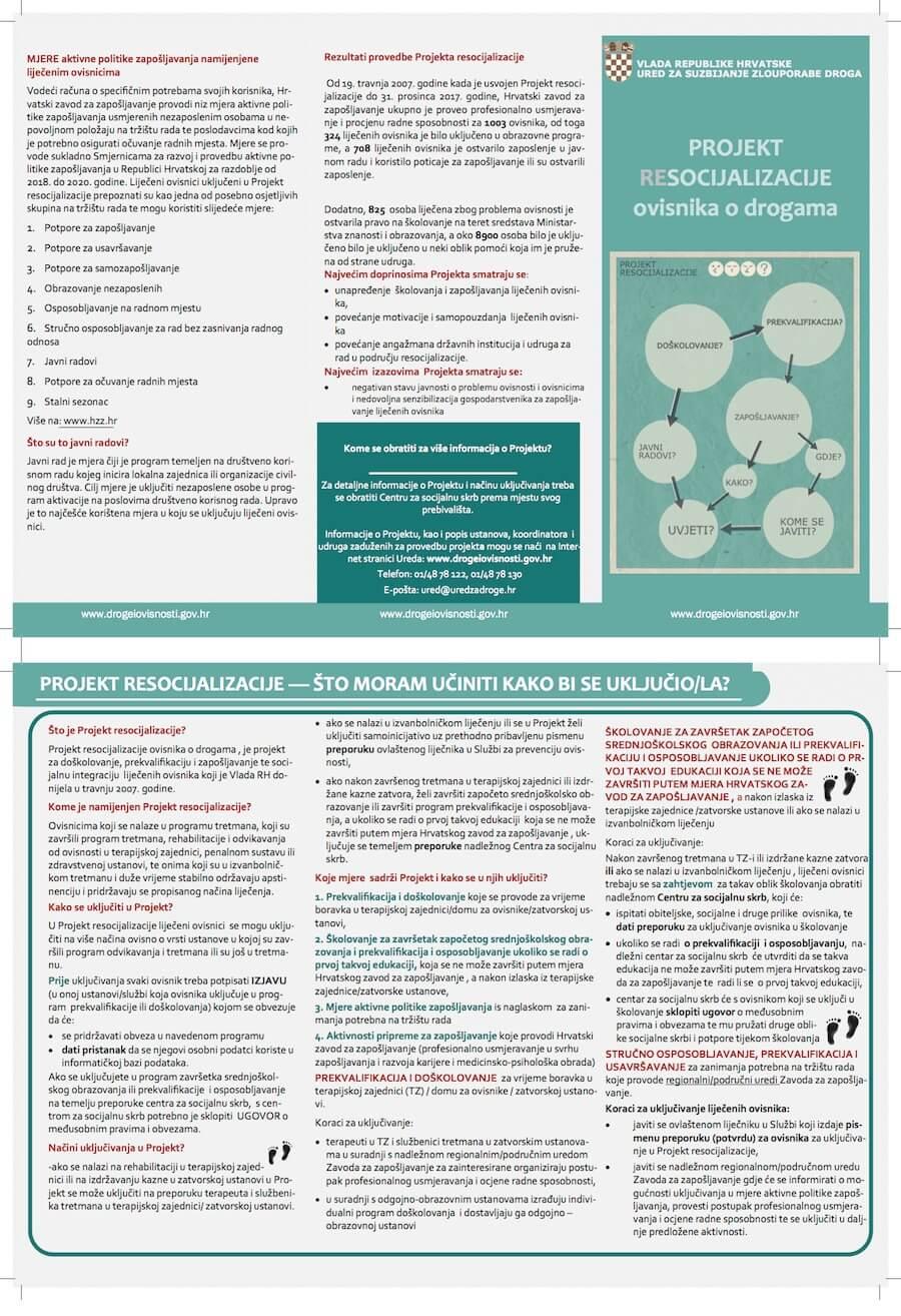 Kopija letka Ureda za suzbijanje zlouporabe droga pod nazivom Projekt resocijalizacije ovisnika o drogama