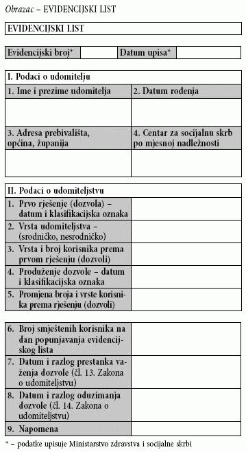evidencijski list