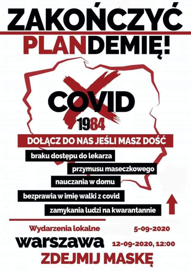 """Protest """"Zakończyć plandemię! Dość kłamstw!"""" 12.09.2020"""
