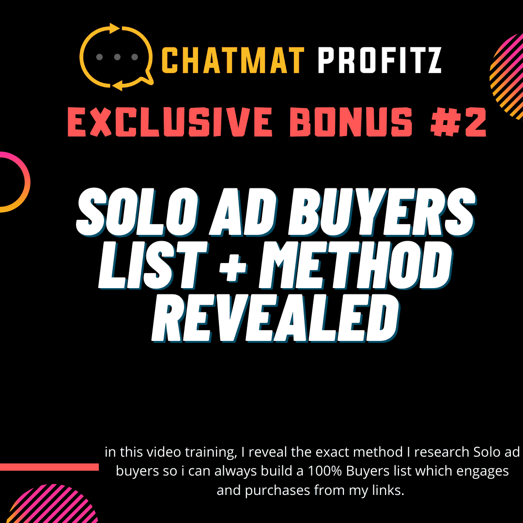 Chatmat Profitz | Easily drive traffic and grow a highly engaged and responsive messenger bot list for Free 10
