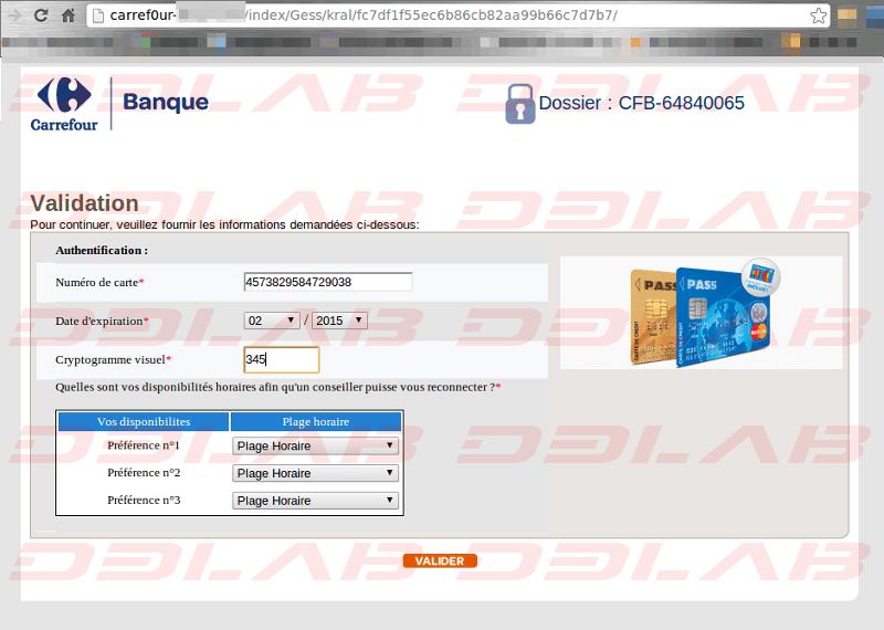 pagina clone Carrefour Banque