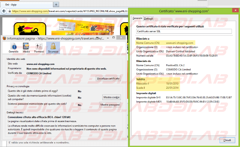 dettagli certificato SSL