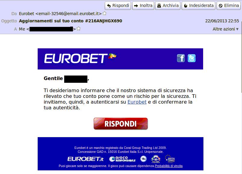 Falsa mail Eurobet