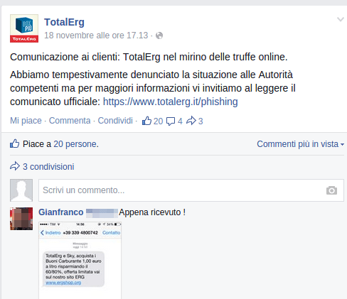 post su pagina Facebbok TotalErg