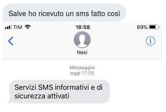 richiesta informazioni riguardo sms NEXI