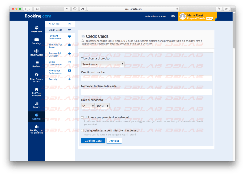 Booking.com seconda pagina clone