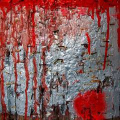 Abstract color photograph featuring black, gray, white, silver, red, brown, rust and yellow.