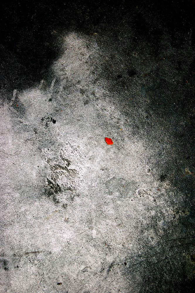 Abstract color photograph featuring black, gray, white and red.