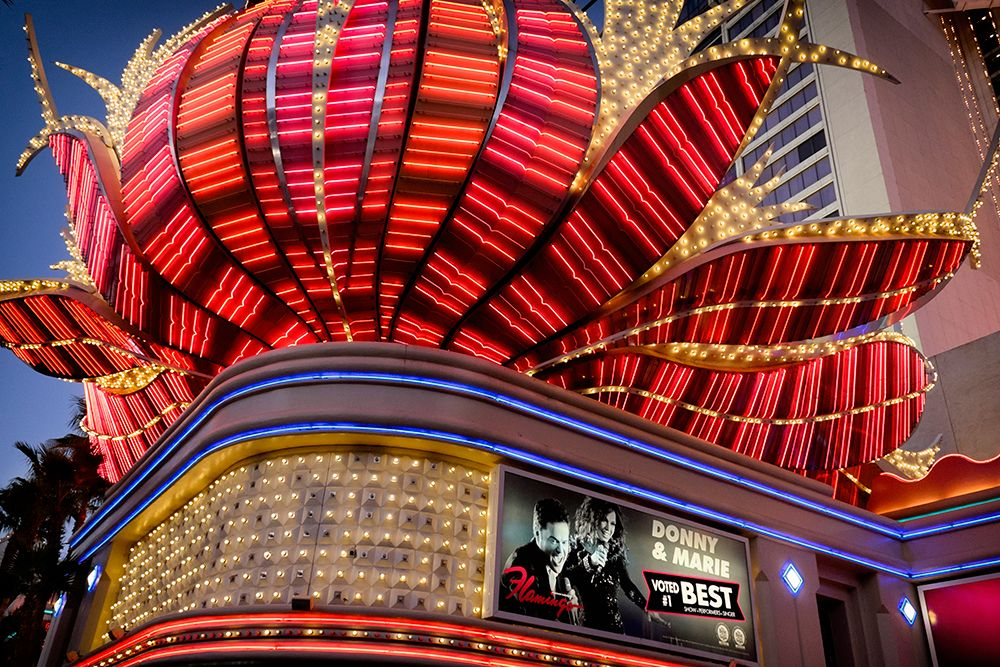 Color photograph of red and gold marque in Las Vegas.