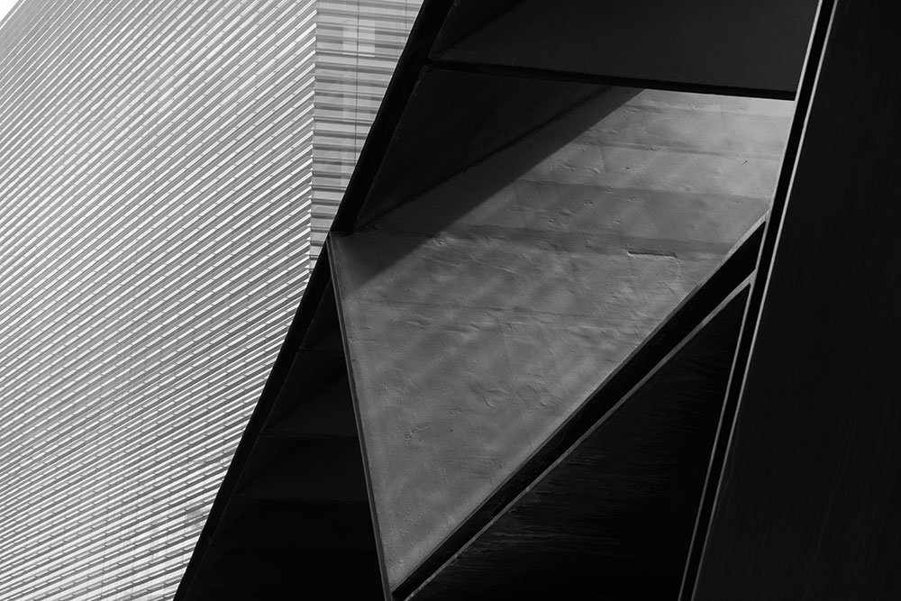 Abstract black and white photo of modern buildings.