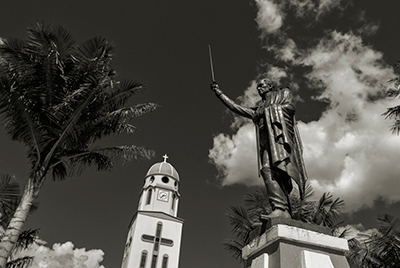 Statue of Simon Bolivar in Salento, Colombia's main plaza.