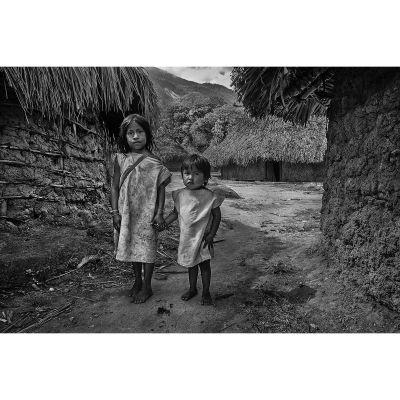 Kogi children in a traditional village in La Guajira, Colombia.